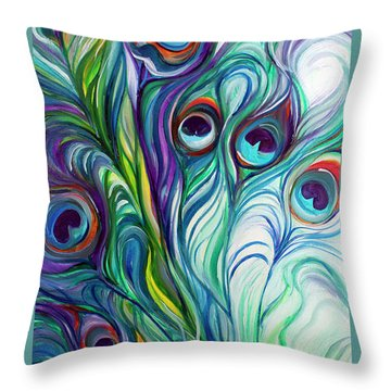 Feathers Peacock Abstract Throw Pillow