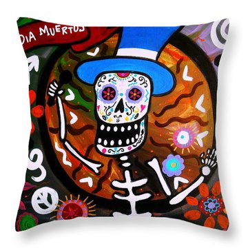Feliz Dia Muertos Throw Pillow by Pristine Cartera Turkus