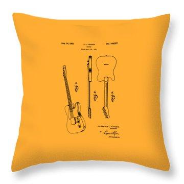 Fender 1951 Electric Guitar Patent Art - B  Throw Pillow