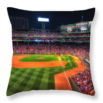 Fenway Park At Night - Boston Throw Pillow