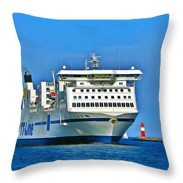 Ferry - Baltic Sea Throw Pillow