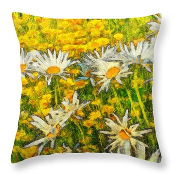 Field Of Daisies Throw Pillow by Claire Bull