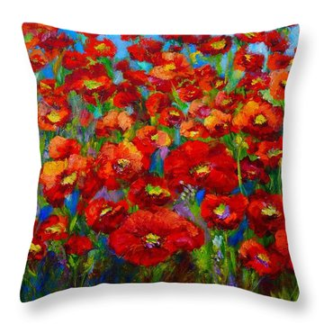 Field Of Poppies Throw Pillow by Mary Jo Zorad