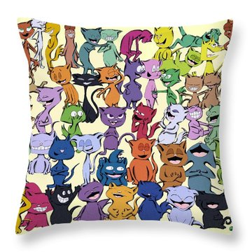 Fifty Happy Cats Throw Pillow