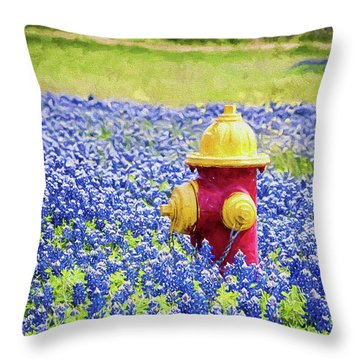 Fire Hydrant In The Bluebonnets Throw Pillow