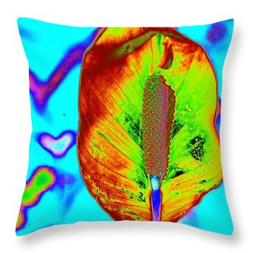 Fired Up Anthurium Throw Pillow