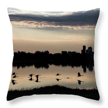 First Flight At Sunrise Throw Pillow