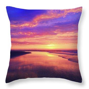 First Light At The Beach Throw Pillow