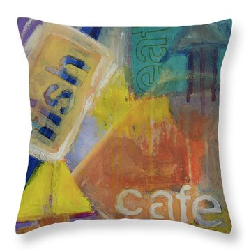 Throw Pillow featuring the painting Fish Cafe by Susan Stone