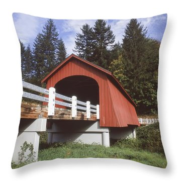 Fisher Covered Bridge Throw Pillow