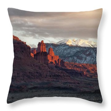 Throw Pillow featuring the photograph Fisher Towers by Bitter Buffalo Photography