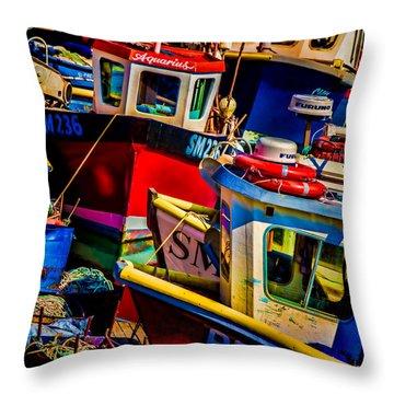 Fishing Fleet Throw Pillow by Chris Lord