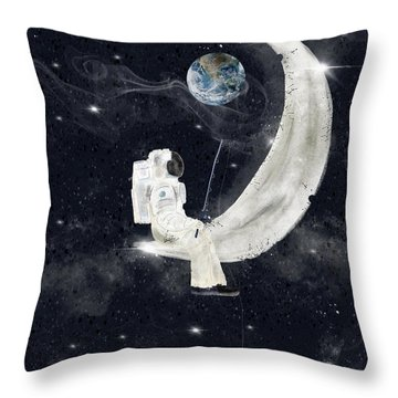 Throw Pillow featuring the painting Fishing For Stars by Bri B