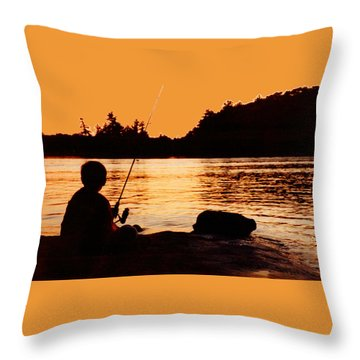 Fishing From A Rock  Throw Pillow by Lyle Crump