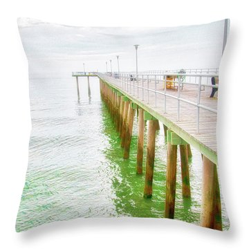Fishing Pier, Margate, New Jersey Throw Pillow