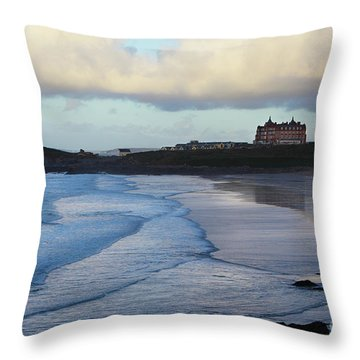 Throw Pillow featuring the photograph Fistral Beach by Nicholas Burningham