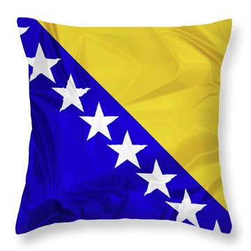 Flag Of Bosnia Throw Pillow