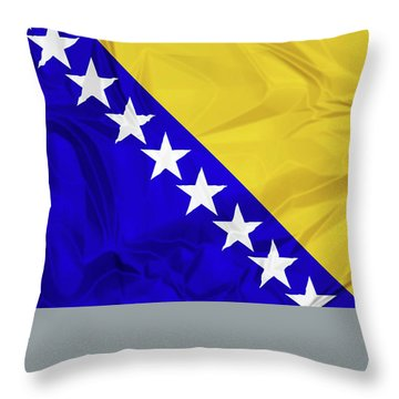 Flag Of Bosnia Throw Pillow
