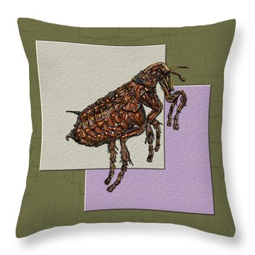 Flea On Abstract Beige Lavender And Dark Khaki Throw Pillow