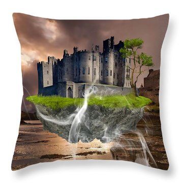 Floating Castle Throw Pillow by Marvin Blaine