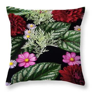 Throw Pillow featuring the photograph Floating Flower Bouquet by Byron Varvarigos