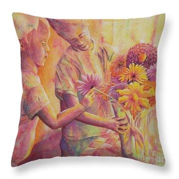 Flower Arranging Throw Pillow