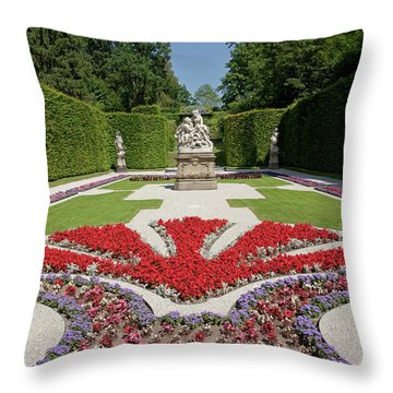 Flowerbeds And Sculptures In Eastern Parterre Throw Pillow
