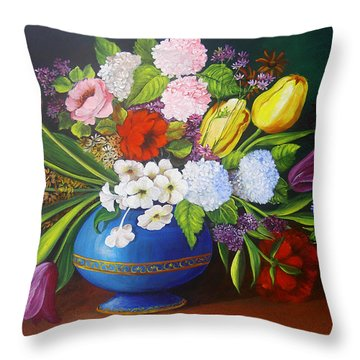 Flowers In A Vase Throw Pillow by Dominica Alcantara