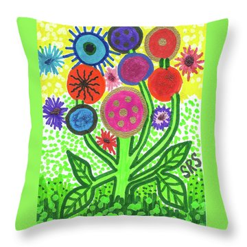 Flowers In The Round 9.7 Throw Pillow