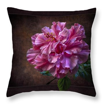 Fluffy Pink Hibiscus Throw Pillow