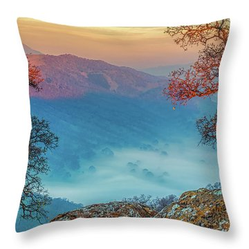 Fog In The Valley Throw Pillow by Marc Crumpler