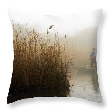 Foggy Fishing Throw Pillow
