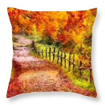 Fall Foliage Path 2 Throw Pillow