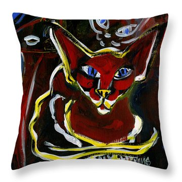 Throw Pillow featuring the painting Foreign White Cat by Leanne WILKES