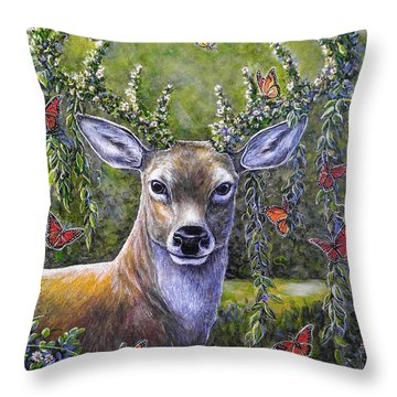 Forest Monarch Throw Pillow