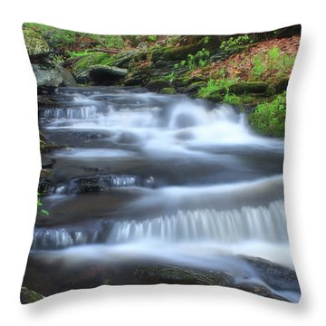 Forest Stream And Marsh Marigolds Throw Pillow by John Burk