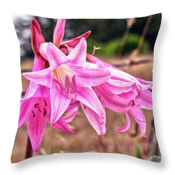 Throw Pillow featuring the photograph Fort Bragg Pink Naked Ladies by William Havle