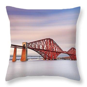 Forth Railway Bridge Throw Pillow by Grant Glendinning