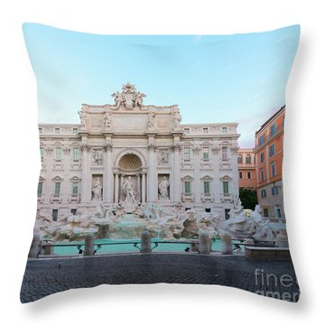 Fountain Di Trevi And Sunrise, Rome Throw Pillow