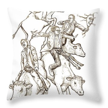 Throw Pillow featuring the digital art Four Mad Cowboys Of The Apocalypse by Russell Kightley