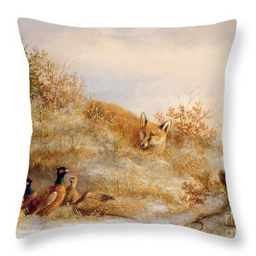 Fox And Pheasants In Winter Throw Pillow by Anonymous