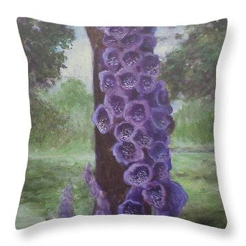 Throw Pillow featuring the painting Foxglove by Randol Burns
