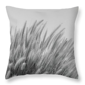Foxtails On A Hill In Black And White Throw Pillow