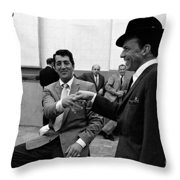 Frank Sinatra And Dean Martin At Capitol Records Studios 1958. Throw Pillow by The Titanic Project