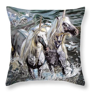 Throw Pillow featuring the drawing Freedom And Friendship by Melita Safran