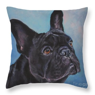 Throw Pillow featuring the painting French Bulldog by Lee Ann Shepard