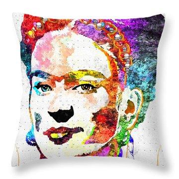 Frida Kahlo Grunge Throw Pillow by Daniel Janda
