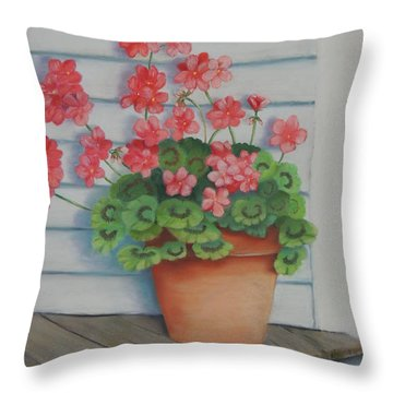 Front Porch Geraniums Throw Pillow