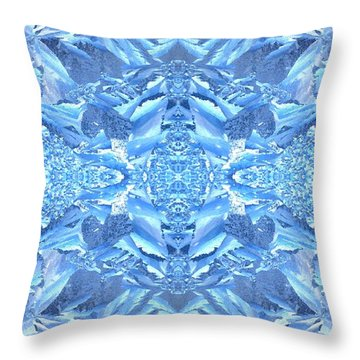 Frost Feathers Throw Pillow by Marianne Dow
