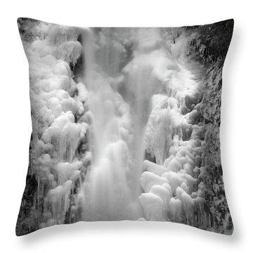 Frozen Multnomah Falls Throw Pillow